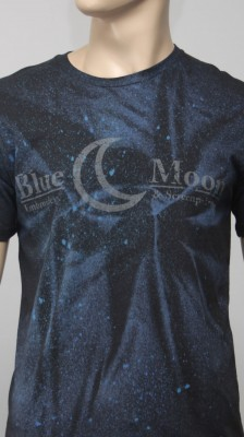 Blue Moon: Reflective Ink With Discharge spray.